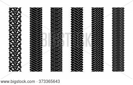 Editable Tire Tracks Texture. Collection Seamless Tire Pattern. Detailed Tracks Protector Image. Set