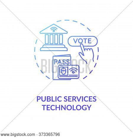 Public Service Technology Blue Gradient Concept Icon. Electronic Government. Online Voting Poll. E G