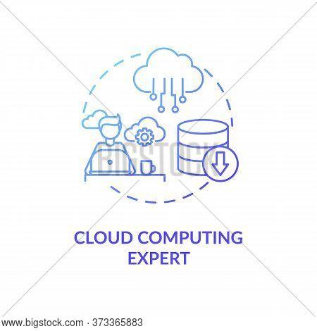 Cloud Computing Expert Blue Gradient Concept Icon. Database Management. It Professional. Information