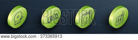 Set Isometric Ringing Alarm Bell, Ambulance And Emergency Car, Ringing Alarm Bell And Electric Wirin