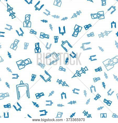 Set Line Metal Detector In Airport, Rocket And Stewardess On Seamless Pattern. Vector