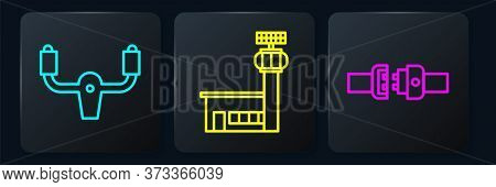 Set Line Aircraft Steering Helm, Safety Belt And Airport Control Tower. Black Square Button. Vector