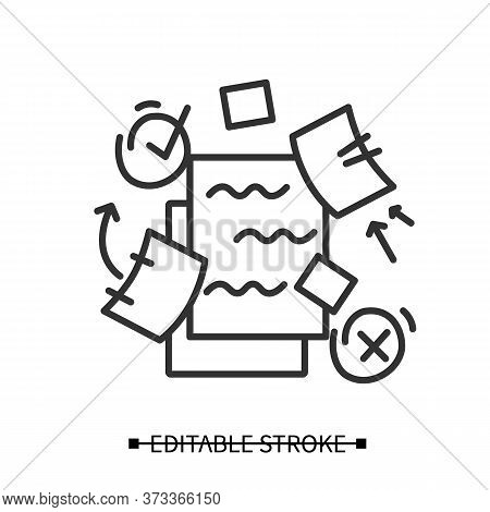 To Do List Icon. To Do Plan With Distraction Elements Linear Pictograms. Concept Of Mind Focus, Time