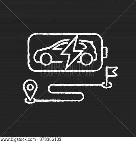 Battery Range Chalk White Icon On Black Background. Electric Vehicle Max Travel Distance. Electric M