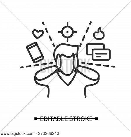 Attention Focus Icon. Man Limiting Attention And Ignoring Social Media Distractions. Concept Linear