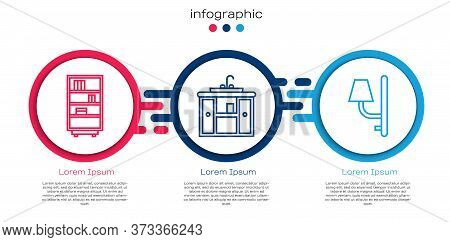 Set Line Library Bookshelf, Washbasin Cabinet With Tap And Wall Sconce. Business Infographic Templat