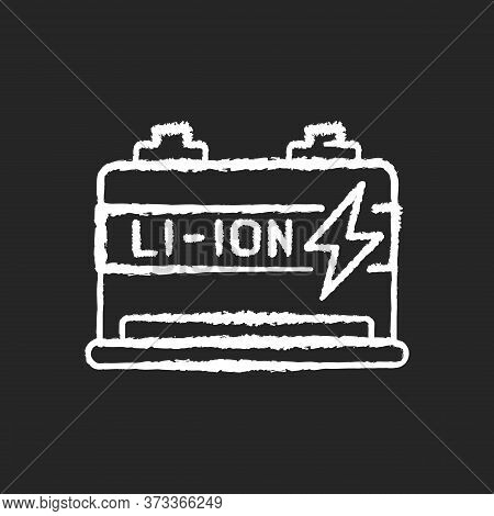 Lithium Ion Battery Chalk White Icon On Black Background. Modern Electric Equipment. Electric Vehicl