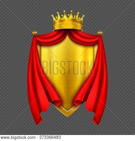 Coat Of Arms With Golden Monarch Crown, Shield And Red Folded Cloth Or Cape, Heraldic Royal Emblem I