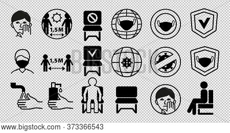 Line Black Icons On Transparent Background. Keep Distance 1.5 Meters. Put On Mask. Keep Distance Bet