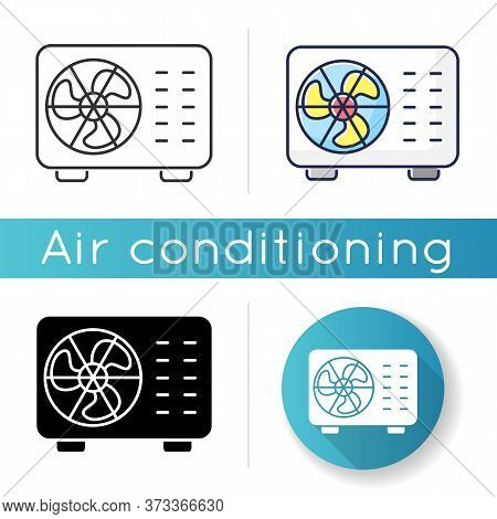 Split Air Conditioner Icon. Linear Black And Rgb Color Styles. Interior Environment Refrigeration Sy