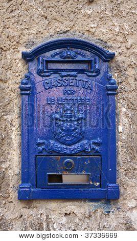 Blue italian mailbox