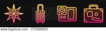 Set Line Photo Camera, Wind Rose, Suitcase And Suitcase. Glowing Neon Icon. Vector