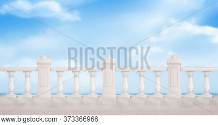 Marble Balustrade On Blue Cloudy Sky Background. White Balcony Railing, Handrails. Banister Or Fenci