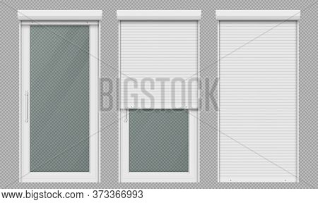 Glass Door With Rolling Shutter Isolated On Transparent Background. Vector Realistic Set Of Closed A