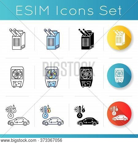 Air Conditioning Icons Set. Linear, Black And Rgb Color Styles. Different Air Cooling Systems And Do