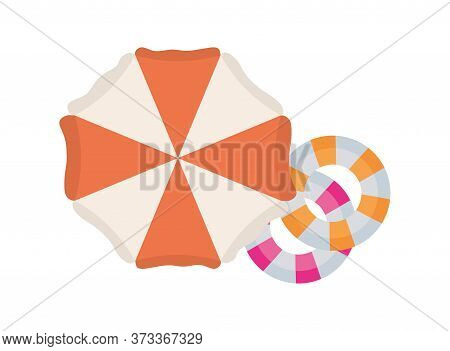 Striped Umbrella And Floats Design, Summer Vacation Tropical Relaxation Outdoor Nature Tourism Relax