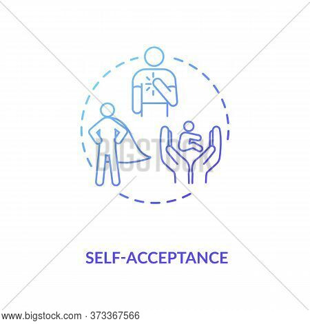 Self Acceptance Blue Gradient Concept Icon. Confidence In Oneself. Level Of Esteem. Psychological He