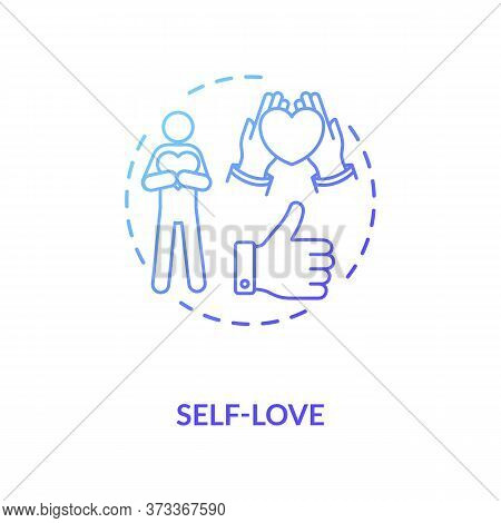 Self Love Blue Gradient Concept Icon. Psychological Wellness. Confidence And Improvement. Positive A