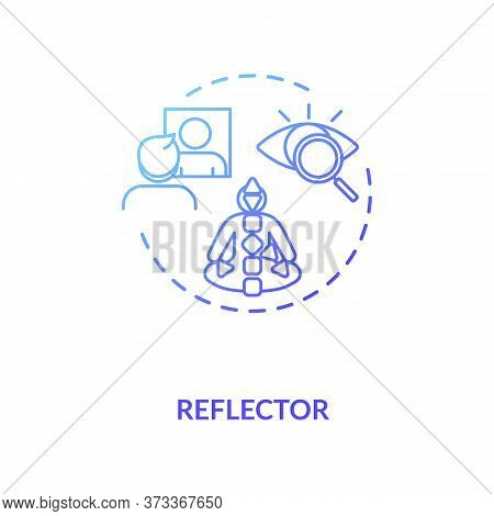 Reflector Blue Gradient Concept Icon. Energy Center In Body Chart Graph. Mirroring Environment. Huma