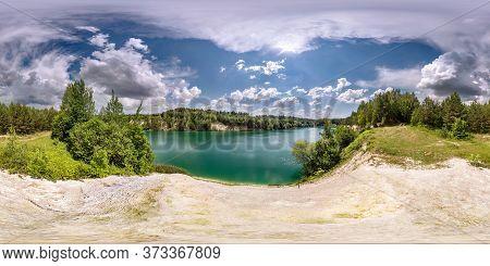 Full Seamless Spherical Hdri Panorama 360 Degrees Angle View On Limestone Coast Of Huge Green Lake O