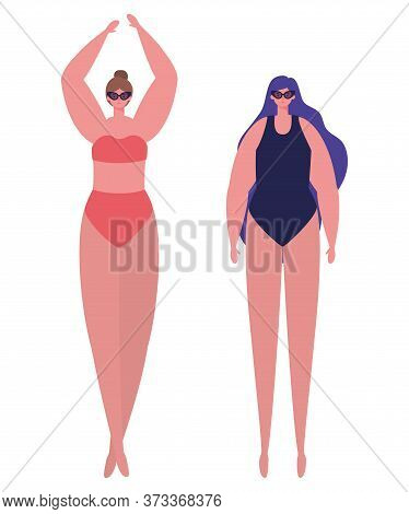 Girls Cartoons With Swimsuits And Glasses Design, Summer Vacation Tropical Relaxation Outdoor Nature