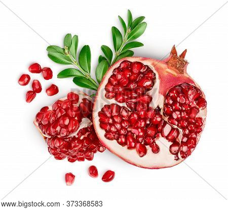 Pomegranate Isolated On White Background With Clipping Path And Full Depth Of Field. Top View. Flat
