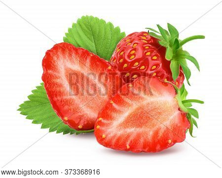 Strawberry And Half Isolated On White Background. Fresh Berry With Clipping Path And Full Depth Of F