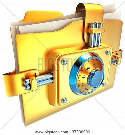 folder with golden lock