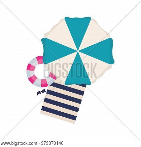 Striped Umbrella Towel And Float Design, Summer Vacation Tropical Relaxation Outdoor Nature Tourism