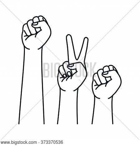 Love Peace And Fist Hands Design, Manifestation Protest And Demonstration Theme Vector Illustration