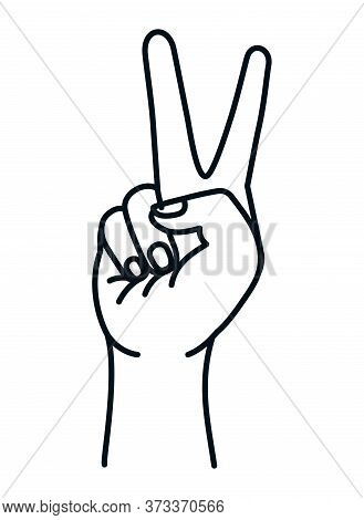 Love And Peace Hand Design, Manifestation Protest And Demonstration Theme Vector Illustration