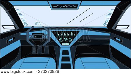 Futuristic Design Inside The Car Vector Cartoon Outline Illustration. Car View With Sensor System, R