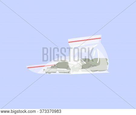 Marijuana Bag Semi Flat Rgb Color Vector Illustration. Drug Addiction, Light Drugs. Medicinal Cannab