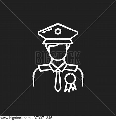 Police Officer Chalk White Icon On Black Background. Military Patrol. Male Guard. Security Man In Un