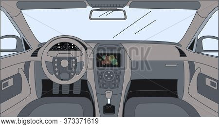 Driver Front View With Sensor Panel, Rudder, Dashboard, And Front Panel. Interior Of Automobile, Veh