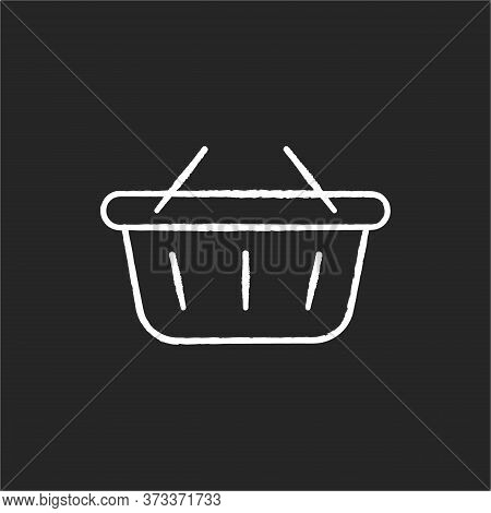 Shopping Basket Chalk White Icon On Black Background. Buy Groceries. Retail In Supermarket. Hypermar