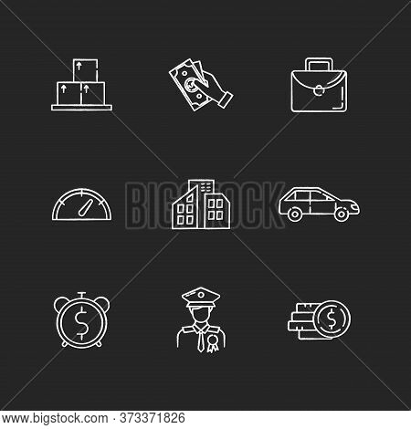 Loan Money Chalk White Icons Set On Black Background. Cash For Business. Investment In Real Estate.