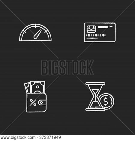 Deposit Money Chalk White Icons Set On Black Background. Countdown To Payout. Credit Card. Bank Oper