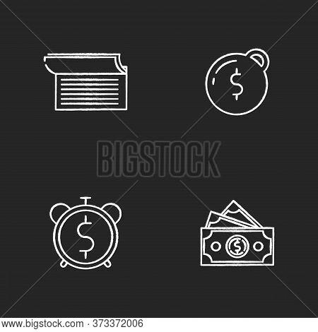 Money Debt Chalk White Icons Set On Black Background. Write In Checkbook. Heavy Financial Burden. Do