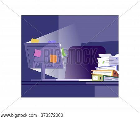 Workplace At Night Semi Flat Vector Illustration. Unorganized Employee Workspace 2d Cartoon Interior