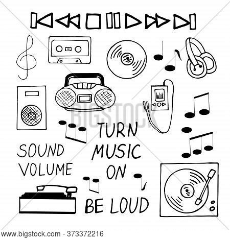 Music Hand Drawn Set In Doodle Style. Vector, Scandinavian, Monochrome. Collection Of Elements For D
