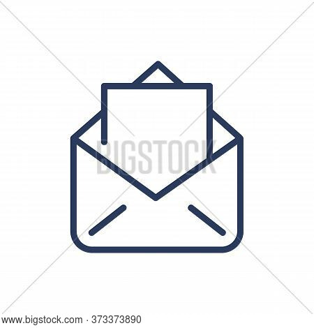 Open Envelope Thin Line Icon. Document, Postage, Correspondence Isolated Outline Sign. Message, Comm