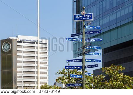 Los Angeles, California, Usa- 11 June 2015: Road Sign With The Sister Cities Of Los Angeles At Main