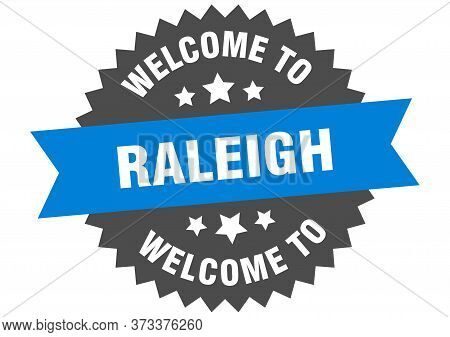 Raleigh Sign. Welcome To Raleigh Blue Sticker