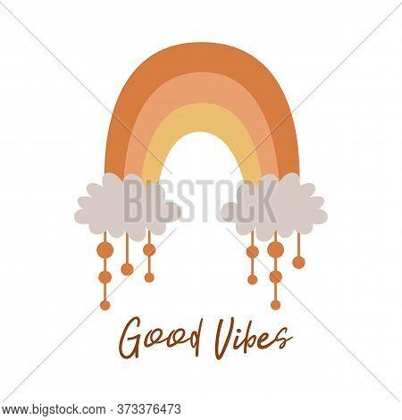 Boho Rainbow Kids Pastel Rainbow. Boho Wall Art Element Doodle Rainbow Text Good Vibes, Kids Print V