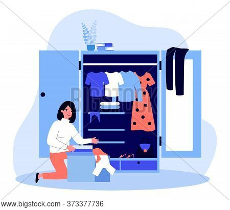 Woman Packing Box With Clothes At Her Wardrobe. Donation, Storage, Closet Flat Vector Illustration.