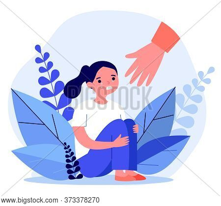 Helping Hand For Crying Girl. Child In Trouble, Sad Unhappy Kid Flat Vector Illustration. Childhood,