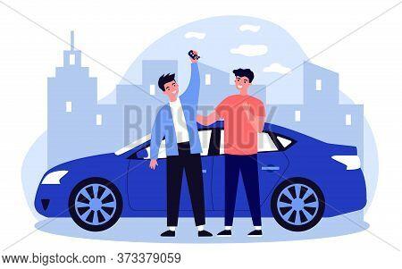Happy Guys Celebrating Buying Car. Friends, Car Rent, Car Sharing Flat Vector Illustration. Driving,