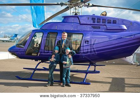 Family Traveling By Helicopter