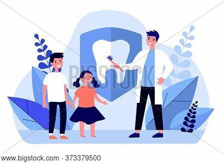Dentist Teaching Kids To Brush Teeth. Children, Orthodontist, Clinic Flat Vector Illustration. Aware